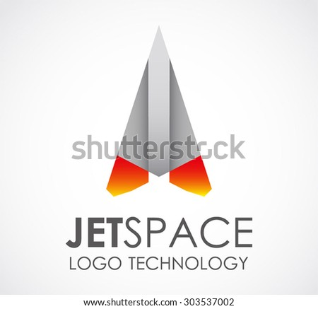 Jet space fly boost start abstract vector logo design template technology business icon transportation company fast delivery symbol concept - stock vector