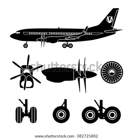 Jets constructor. Black silhouettes aircraft parts. Collection of symbols for the repair of aircraft. Vector illustration - stock vector