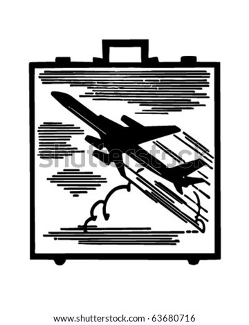 Jetsetter Briefcase - Retro Clipart Illustration - stock vector