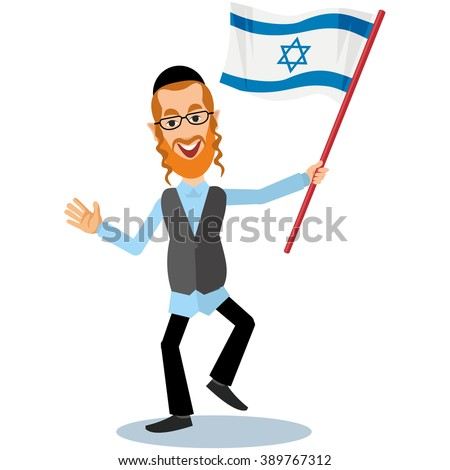 Jew with flags - stock vector
