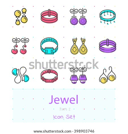 Jewel line color modern stylish icon set of 12 icons. Part 2 - earrings and bracelets . EPS 10. - stock vector