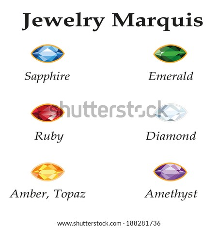 Jewelery set with faceting marquis - diamond, emerald, sapphire, ruby, amethyst, topaz and amber on white background. - stock vector