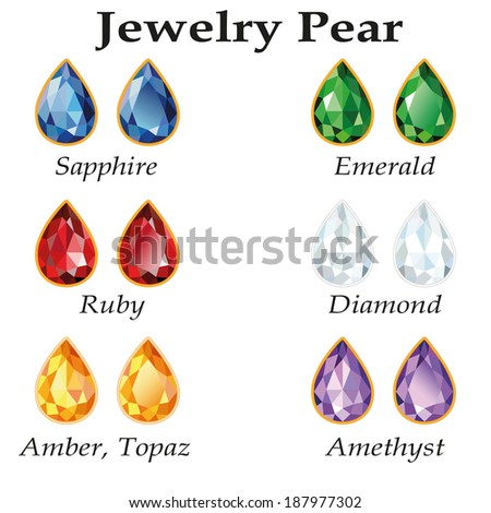 Jewelery set with faceting pear - diamond, emerald, sapphire, ruby, amethyst, topaz and amber on white background. In the illustration used free font Book Antiqua (taken here www.fontov.net) - stock vector