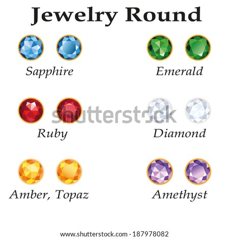 Jewelery set with round cut - diamond, emerald, sapphire, ruby, amethyst, topaz and amber on white background. Isolated objects. Used free font Book Antiqua (taken here www.fontov.net) - stock vector