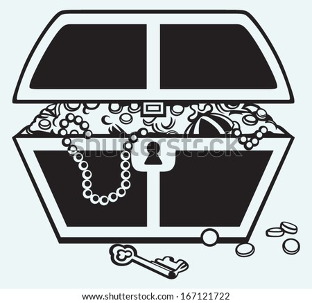 Jewellery and a box isolated on blue background - stock vector