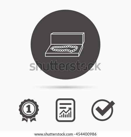 Jewellery box icon. Luxury precious sign. Report document, winner award and tick. Round circle button with icon. Vector - stock vector