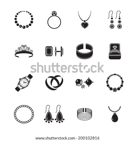Jewelry black icons set of diamond gold fashion expensive accessories isolated vector illustration. - stock vector
