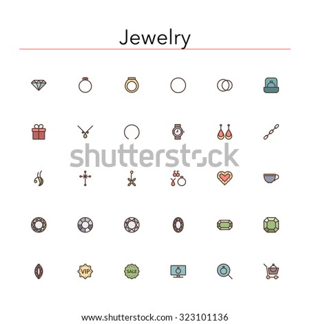 Jewelry colored line icons set. Vector illustration.