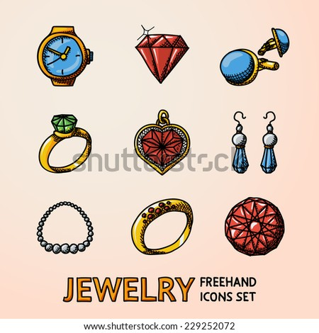 Jewelry colorful freehand icons set with - rings, diamonds, watch, earrings, pendant, cuff links, necklace. Vector - stock vector