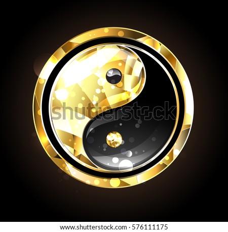 Jewelry Gold Black Yin Yang Symbol Stock Vector Hd Royalty Free