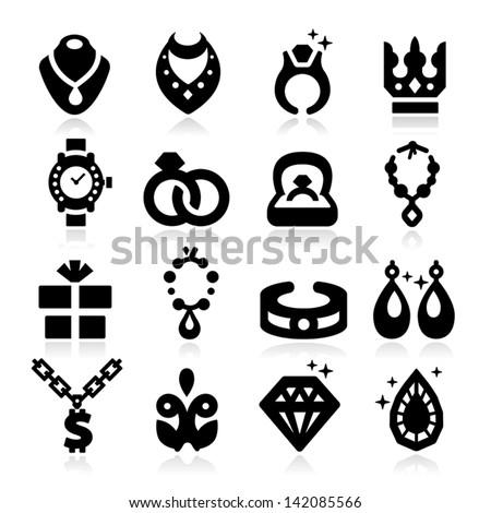 Jewelry Icons - stock vector