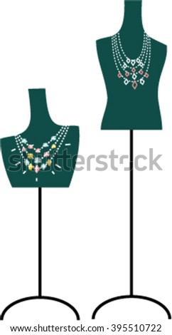 Jewelry on the mannequin female torso. Mannequin torso. Jewelry on mannequin. Vector illustration - stock vector