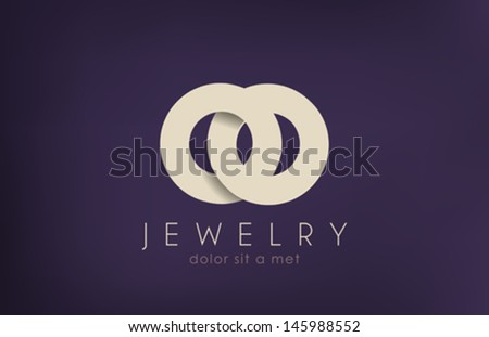 Jewelry vector logo design template. Jewellery fashion concept. Jewelery rings wedding idea. Luxury symbol. Stylish sign. Creative icon. - stock vector