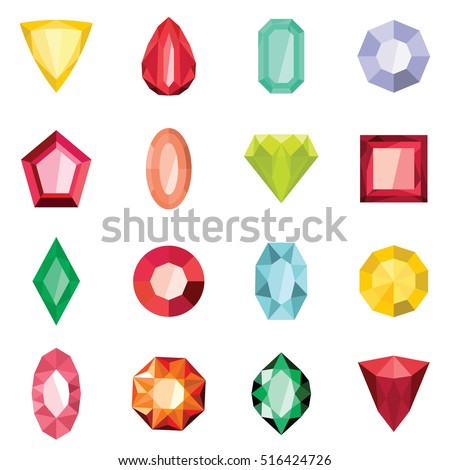 Jewels set in cartoon flat stile isolated on white background vector stock illustration