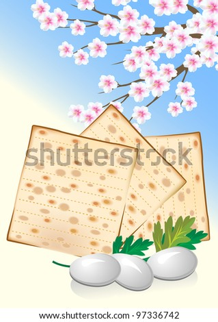 Jewish celebrate pesach passover with eggs, matzo and flowers - stock vector