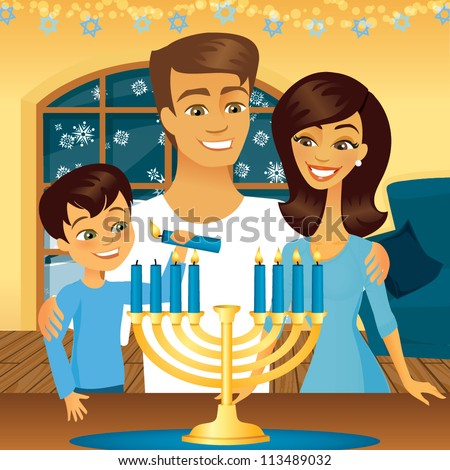 Jewish family celebrating the holiday Hanukkah - stock vector