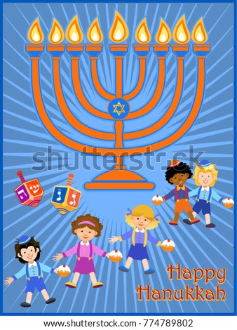 Jewish holiday hanukkah greeting card traditional stock vector jewish holiday hanukkah greeting card traditional chanukah symbols dreidels spinning top hebrew m4hsunfo Image collections