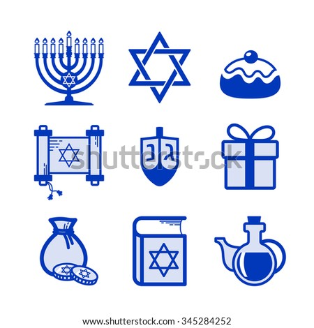 Jewish Holiday Hanukkah icons set - stock vector