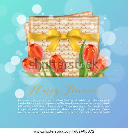 Jewish holiday passover greeting card design stock vector 602408372 jewish holiday passover greeting card design with matzo and tulip flowers realistic vector illustration m4hsunfo Image collections