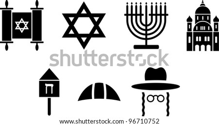 Jewish icons - stock vector