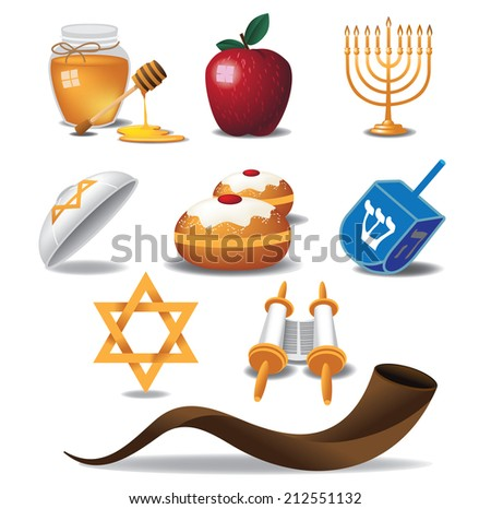 Jewish icons EPS 10 vector - stock vector