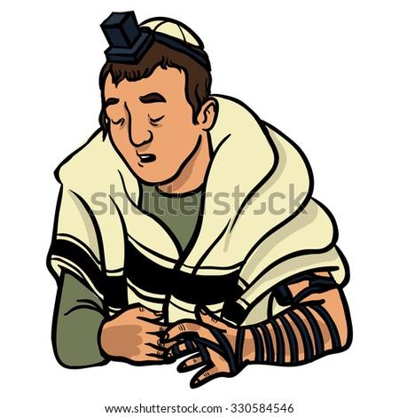 jewish man praying and put on tfilin. vector illustration - stock vector