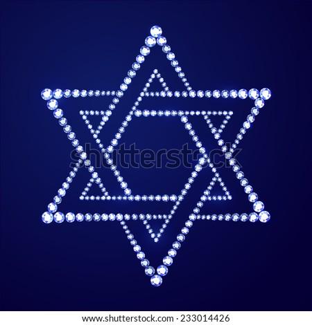 Jewish religion symbol David star made of blue diamonds on blue background - stock vector