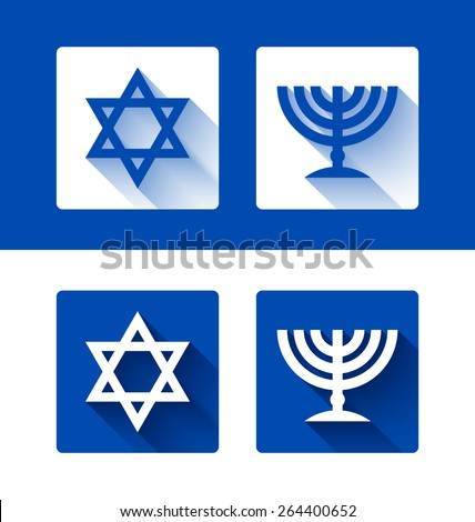 Jewish star of David and menorah candle holder with long shadow effect on background  - stock vector