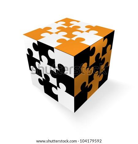 Jigsaw cube - stock vector