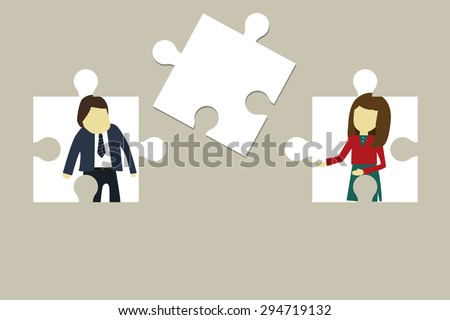 Jigsaw of business. Boss and secretary working for a profitable business. Success Business. Vector Illustration