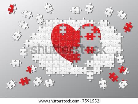 Jigsaw pieces broken heart Vector - stock vector