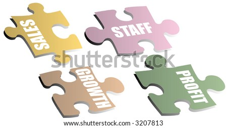 Jigsaw pieces with a drop shadow showing a business metaphor - stock vector