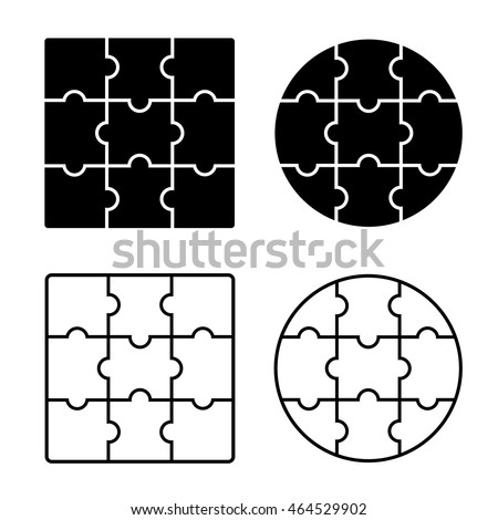 Jigsaw Puzzle Blank Simple Template 3 X Nine Pieces Vector Illustration