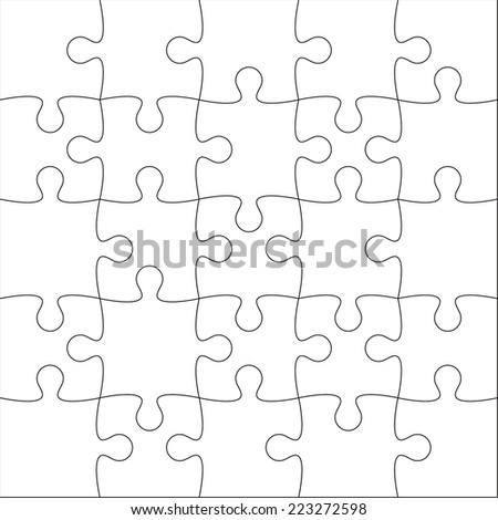 Jigsaw Puzzle Blank Template Or Cutting Guidelines Of 20 Pieces