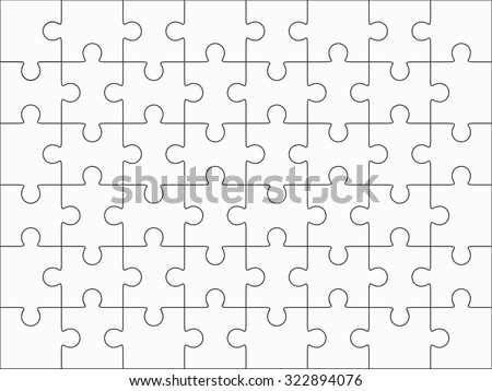 Jigsaw Puzzle Blank Template 6x8 Elements Stock Vector 322894076