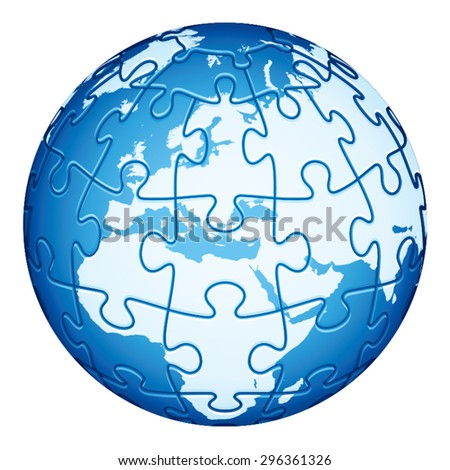 Jigsaw Puzzle Globe with Europe and Africa continents. Main elements are on separate layers. Easy to  change or remove. - stock vector