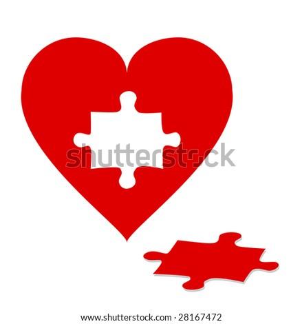 Jigsaw Puzzle Heart - stock vector