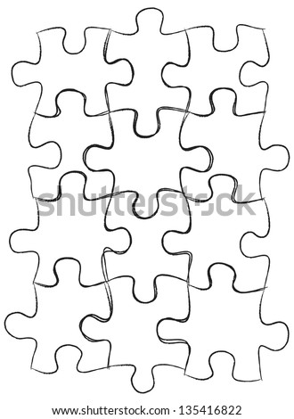 Jigsaw Puzzle IconsSketched Up Outline, Vector Illustration EPS 10. - stock vector