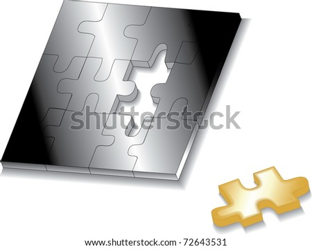 jigsaw puzzle last piece - stock vector
