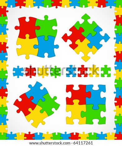 Jigsaw puzzle multicolor pieces with frame useful set - stock vector