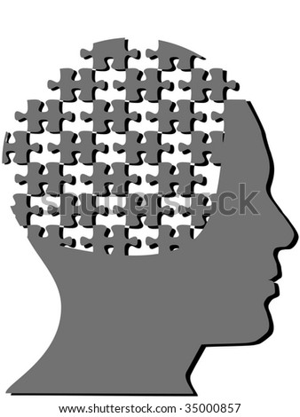 Jigsaw puzzle pieces as the mind in the profile head of a man with a few pieces missing. - stock vector