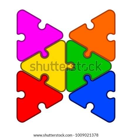 Jigsaw Puzzle Pieces Teamwork Concept Image Vector Illustration Design