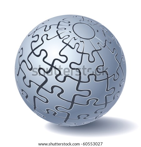 Jigsaw Puzzle Sphere. All Parts Together. Vector Illustration - stock vector