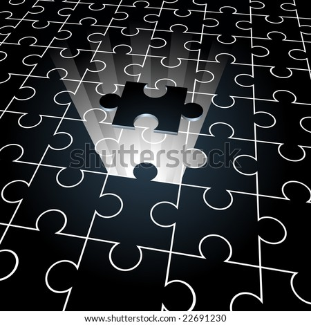 Jigsaw puzzle: the missing piece concept background - stock vector