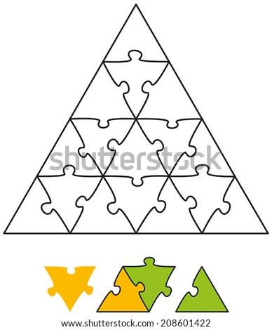 Jigsaw Puzzle Triangle - Jigsaw puzzle in the form of a triangle with single pieces which can be individually removed and arranged. Vector illustration on white background. - stock vector