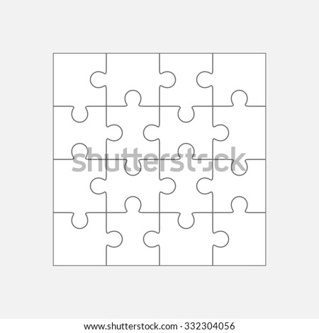 Jigsaw puzzle vector, blank simple template sixteen elements  - stock vector