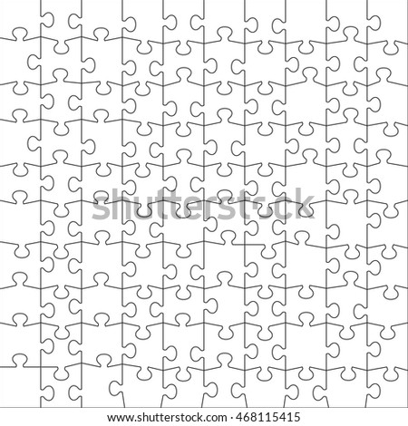 Jigsaw Puzzle Vector Template One Hundred Pieces Option 2
