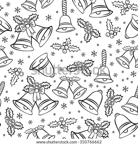 jingle bells Christmas decoration elements messy seasonal winter holidays black and white seamless pattern on white background - stock vector