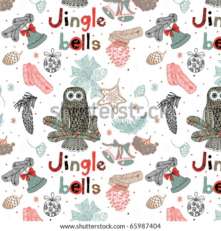 Jingle bells. Christmas seamless pattern - stock vector