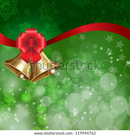 Jingle bells with red bow on a shines background. Vector illustration - stock vector